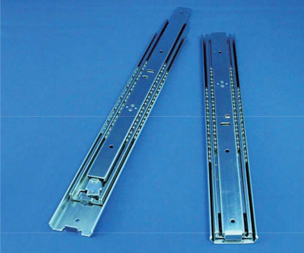 厚み12.7ミリ、インナーメンバー引抜き(バネ付き)タイプのオーバートラベルスライドレール Y515